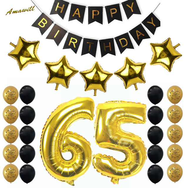 Amawill 65th Birthday Party Decoration Kit Happy Banner Gold Black Balloon New Years Old Supplies 6D