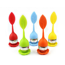 1 Pcs Tea Filter Silicone Stainless Steel Leaf Tea Strainer With Cushion Strawberry Pattern Food Grade Silicone Teaspoon Infuser