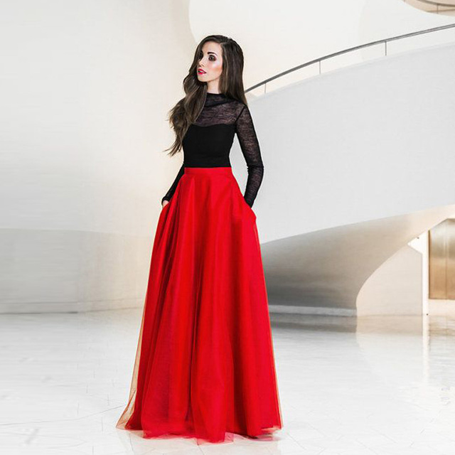 Aliexpress.com : Buy Red Tulle Maxi Skirts 2016 Custom Made ...