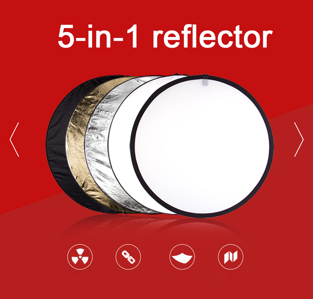 Folding 110cm five in one camera photographic equipment reflective plate five-color portable light-filled light plate