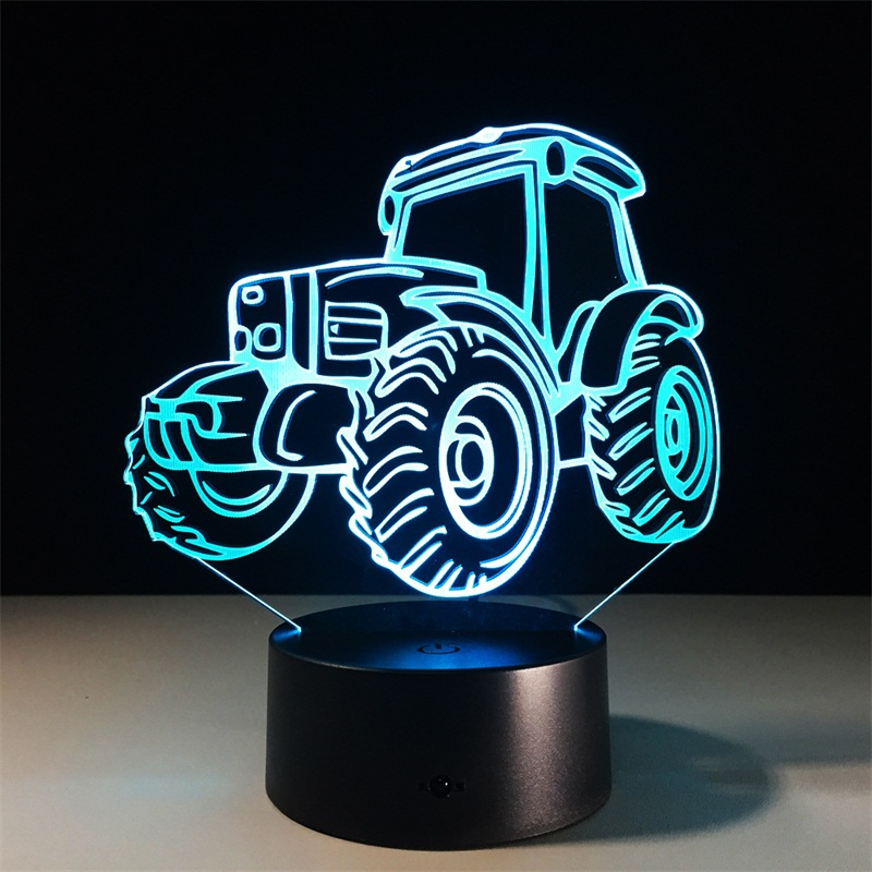 Tractor LED Night Light 3D Lamp 7 Colors Changing Remote Touch Switch Decorative Car Table Lamp Living Room Lights Kids Gift Toy cat 3d night light animal changeable mood lamp led 7 colors usb 3d illusion table lamp for home decorative as kids toy gift