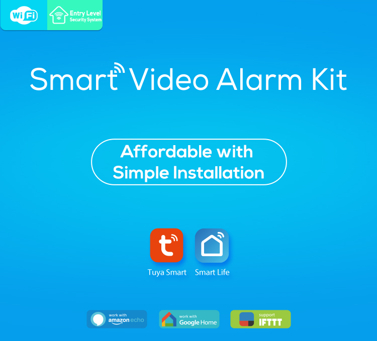 TUYA Smart Home Video Alarm Kit Concluding 720P Cameras 3 sensors 1 Siren Alarm All Support Wifi with SmartLife TUYA Smart APP_F01
