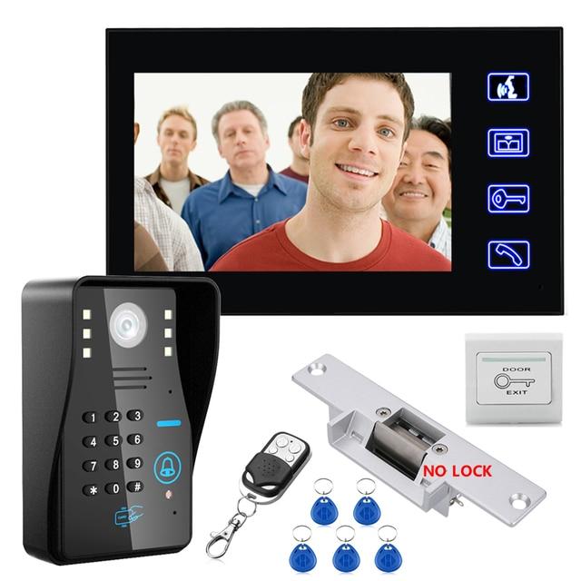 """MAOTEWANG 7"""" RFID Password Video Door Phone Intercom Doorbell With IR Camera 1000 TV Line With NO Electric Strike Door Lock"""