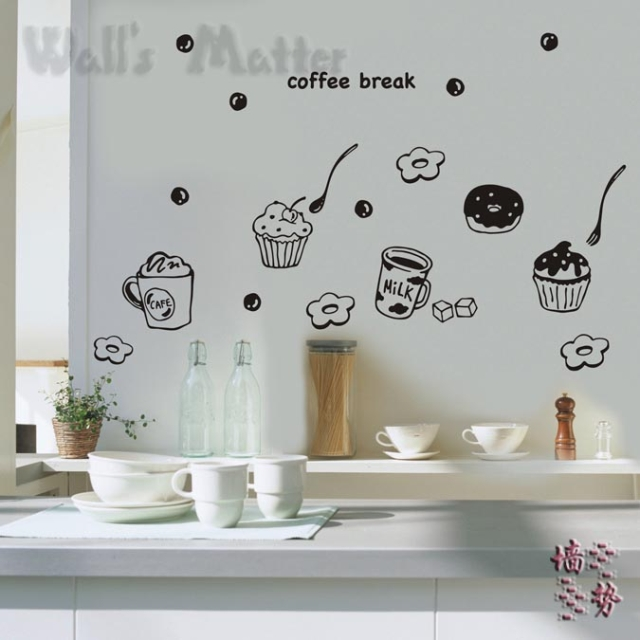 Purple And Yellow Kitchen Wall Art Unframed Kitchen: Delicious Food Dessert Milk Tea Wall Stickers Decoration