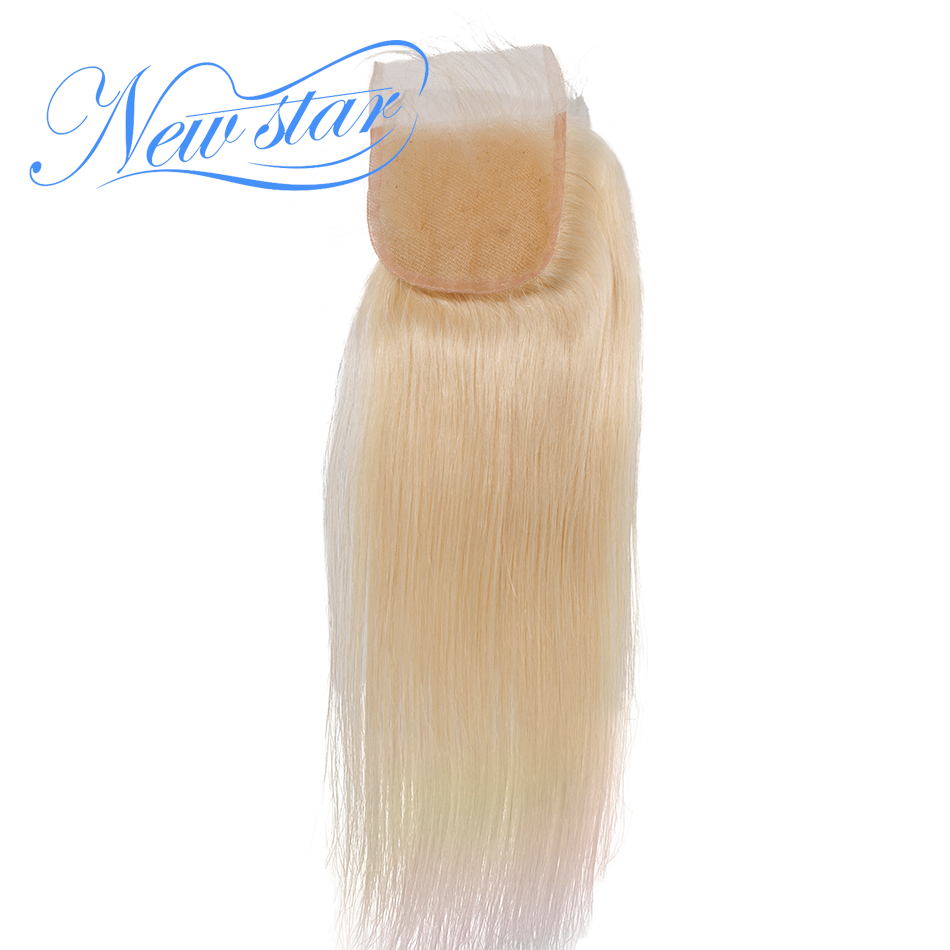 New Star Brazilian 613 Blonde Straight Lace 4 x4 Free Part Closures Bleacked knots With Baby