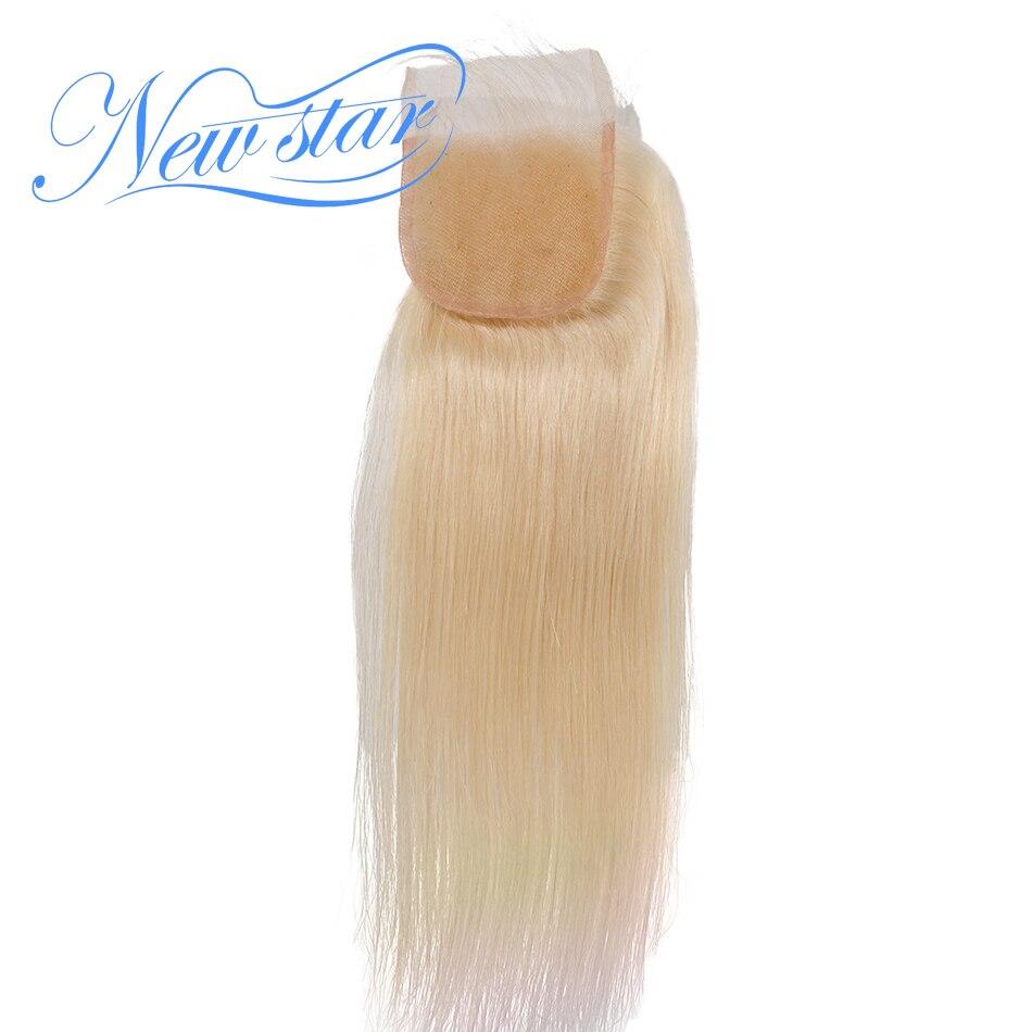 New star бразильский #613 блондинку прямо кружева 4 ''x 4'' закрытия свободной части Bleacked узлы с ребенком волос 100% человеческих Волосы remy