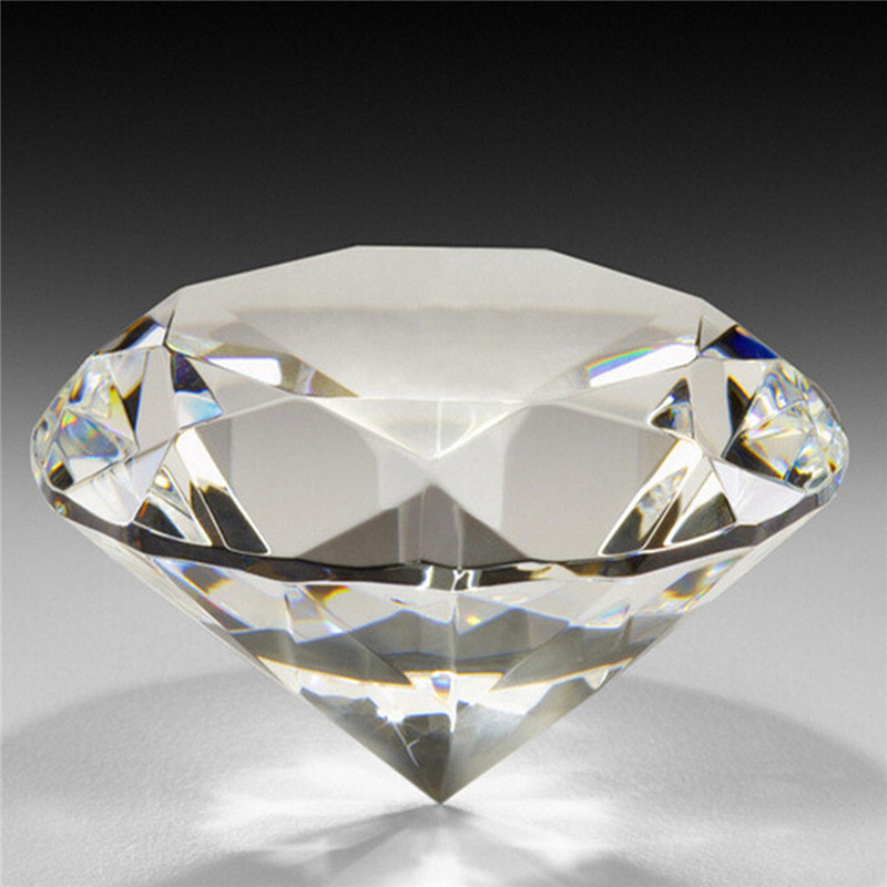 1 pc 60mm / 2.36inch Clear Crystal Diamond Cut Shape Paperweights Glass Gem Home Display