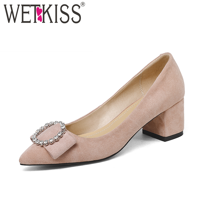 WETKISS 2018 Fashion Dress Women Shoes Pointed Toe Crystal Square Heels Flock Shallow Slip On Footwear High Heels Ladies Shoes lin king fashion pearl pointed toe women flats shoes new arrive flock casual ladies shoes comfortable shallow mouth single shoes