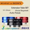 Meike MK-S-AF3A Metal AF Auto Foco Tubo de Extensão Macro anel Adaptador 10mm 16mm para Sony Mirrorless NEX A7 E-Mount Camera