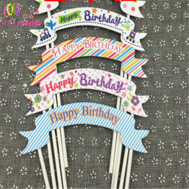 5pcs/lot Happy Birthday Cupcake Topper Bunting Flags Picks Kids Birthday Party Wedding Baby Shower Cake Baking Decoration