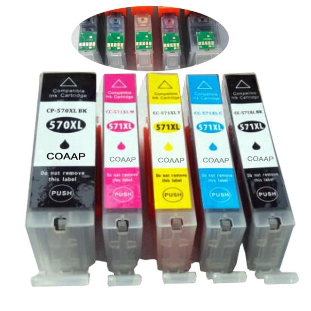 5 Compatible Canon PGI 570 CLI 571 Ink Cartridge For Pixma MG6850 MG6851 MG6852 MG6853 MG5750 MG5751 MG5752 MG5753 Printer