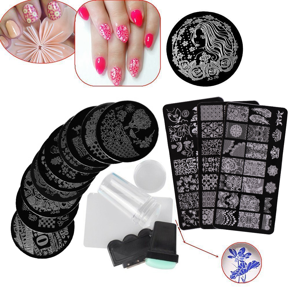 Biutee 13Pcs Nail Art Stamp Template Image Plate Nail Stamping Plates Set with Nail Art Stamper Scraper Sets 4pcs christmas halloween owl 4 design stainless steel nail plates nail art image konad print stamp stamping manicure template