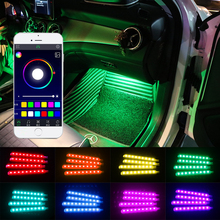 OKEEN 4Pcs 12V Car Neon Atmosphere RGB LED Strip Light 5050SMD Car Auto APP Control Decorative