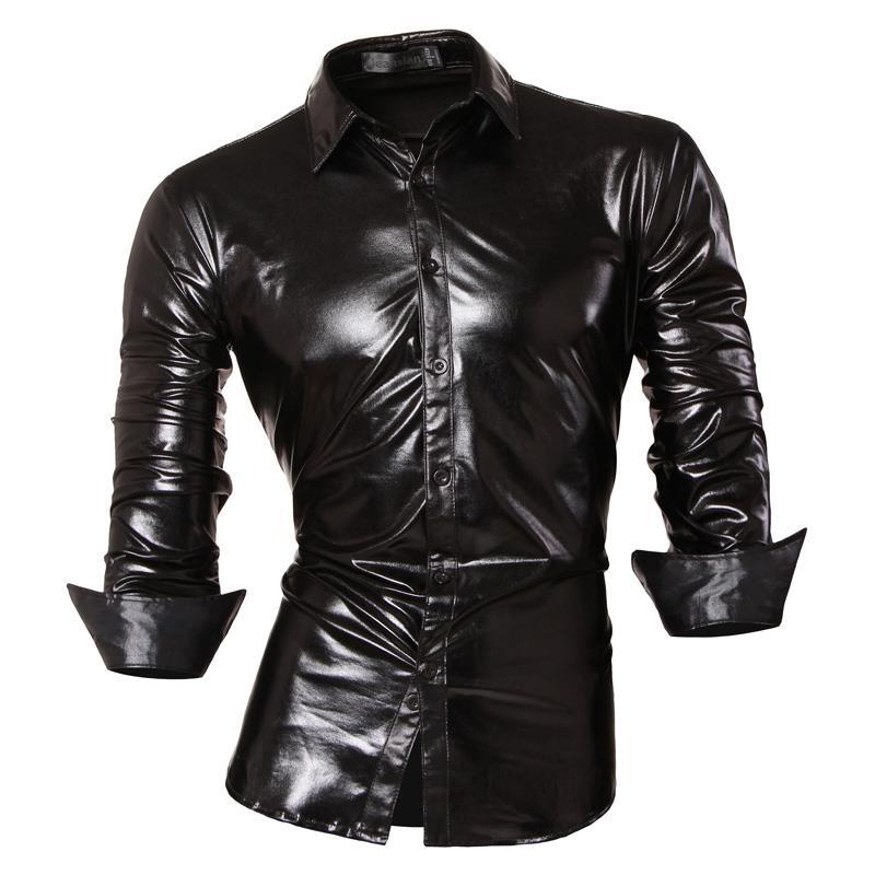 Jeansian Men's Fashion Dress Casual Shirts Button Down Long Sleeve Slim Fit Designer Z036 Black