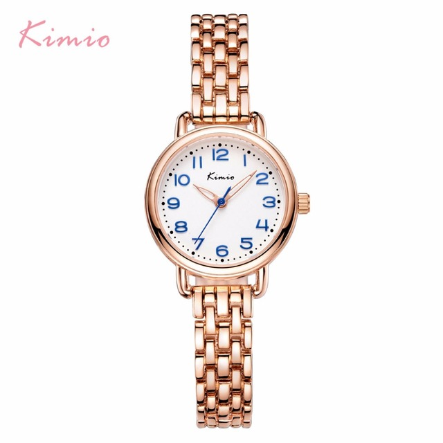 KIMIO Stainless Steel Women Watches Mother Of Pearl Dial Hollow Love Heart Rhine