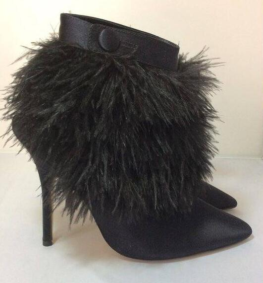 2018 Hot Black Satin Women Pointy Toe Feather Patchwork Boots Sexy High Heel Boots Ankle Button Buckle Ladies Slingback Boots2018 Hot Black Satin Women Pointy Toe Feather Patchwork Boots Sexy High Heel Boots Ankle Button Buckle Ladies Slingback Boots