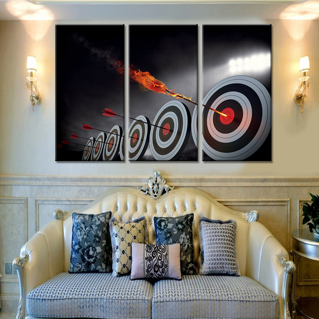3 pieces home decor art shooting target oil style painting on canvas posters and prints modern