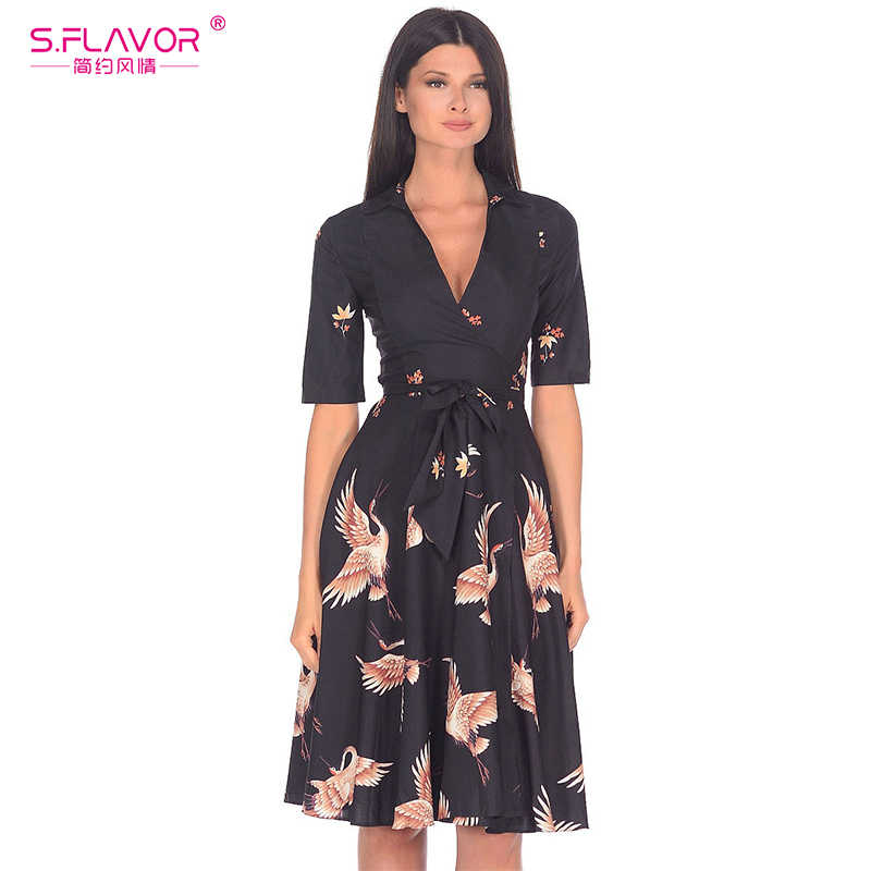S.FLAVOR Sexy V-neck A-line Dress for Offical Ladies Hot Sale Half Sleeve Patchwork Printing Short dress Autumn Winter Vestidos