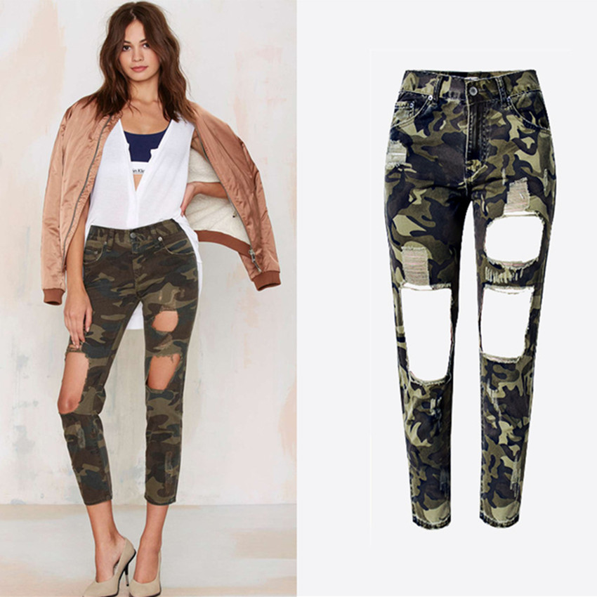 22ad8a30f0f52 Women Summer Jeans Ripped Holes Fashion Straight Camouflage Pants High Waist  Camo Denim Pants Large Size