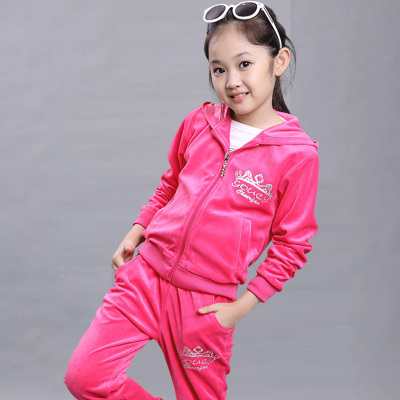 High Quality 2019 Spring Fall Girls Fashion Velvet Sweater Suit Children Clothing Kids Sport Clothes Hoodies Pants Twinset X341 in Clothing Sets from Mother Kids