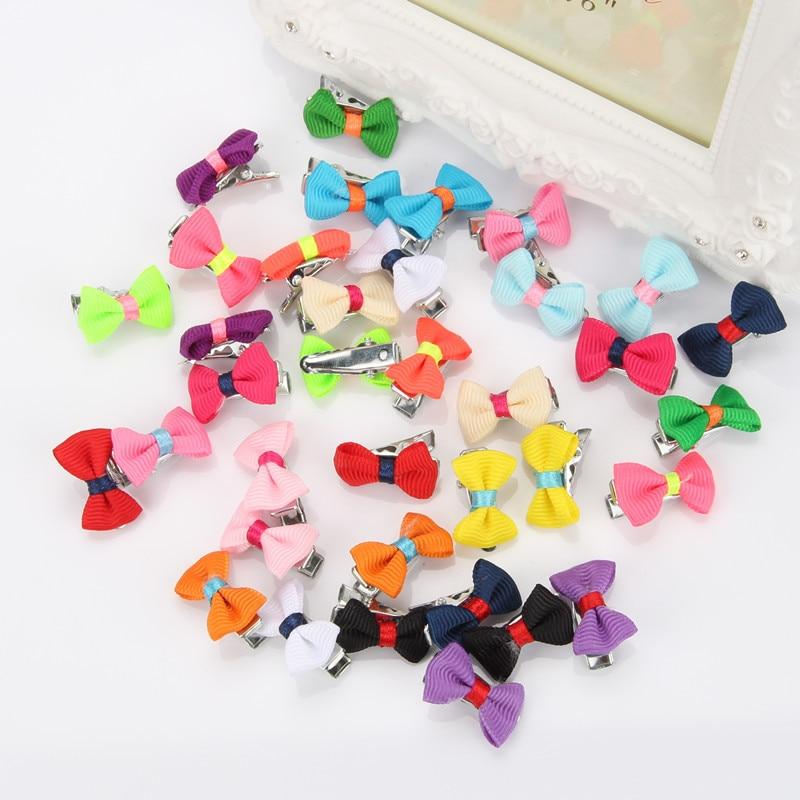 2cm Pet/children bow tie Dog hair ornaments Hair Barrettes wholesale Cute BB Mini clip  pet accessories 100pcs