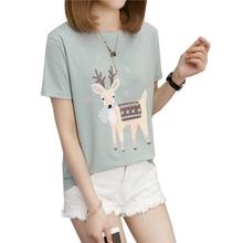Spring Oversized Shirt 2019 Summer Sika Deer Print Women's T-shirt Plus Size M-5XL Short Sleeves Tops Loose O-Neck Female Tee long sleeves deer print christmas tee