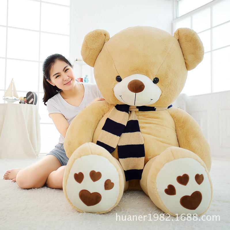 80cm Giant Fat edition teddy bear scarf doll plush toy large hug bear Christmas gift lovely giant panda about 70cm plush toy t shirt dress panda doll soft throw pillow christmas birthday gift x023