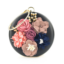 Present For Girl Friend Round Shap LUXURY Flower Evening Clutch Bags H