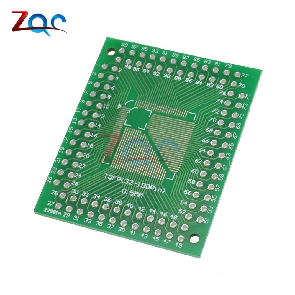 5pcs QFP TQFP LQFP FQFP 32 44 64 80 100 LQF SMD Turn to DIP Adapter Prototype PCB Board Converter Plate 0.5/0.8 mm atmega1281 16au atmega1281 tqfp 64
