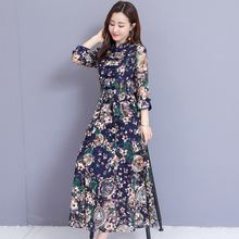 цена Navy Blue Dresses Woman Party Night Plus Size 2019 for Big Women Midi Floral Print Dress Long Sleeve Summer Elegant Vintage