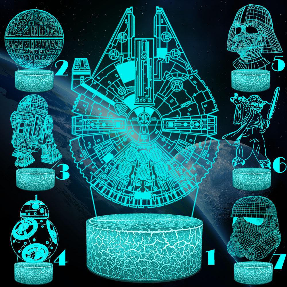 VCity Death Star War Yoda 3D Night Light Creative Illusion Visual BB8 Lamp Led Bedroom Decoration Holiday Gifts Movie RGB Change