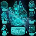 Vcity morte estrela guerra yoda 3d noite luz ilusão criativa visual bb8 lâmpada led decoração do quarto presentes de férias filme rgb mudança
