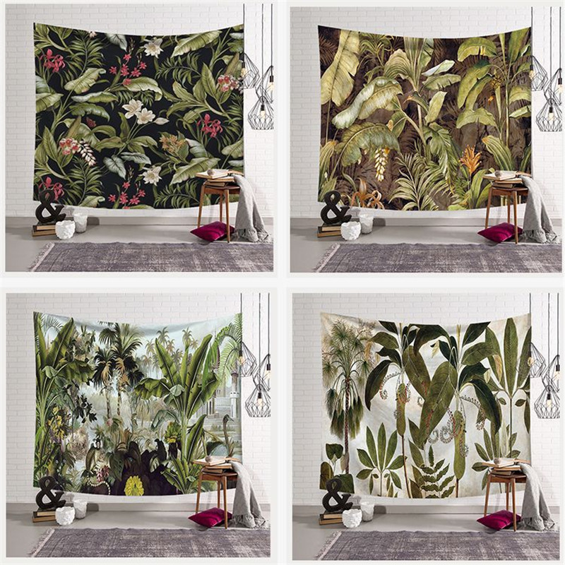 Wall hanging Tapestry Traval Camping Tapestry boho decor Animal Yoga mat sleeping Large Green plant print wall Tapestry <font><b>150*200</b></font> image