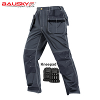 Men Work Pants Multi pockets Tool Trousers With Removable Eva Knee pads High quality Safety Worker Mechanic Cargo Pants Workwear