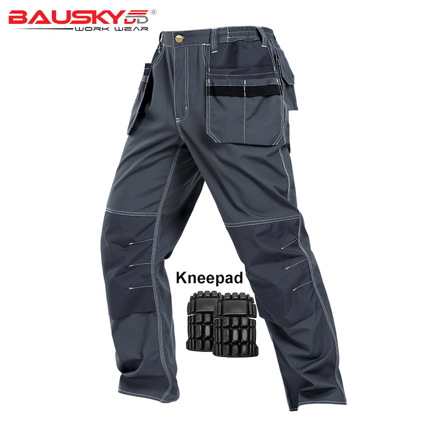 все цены на Men Work Pants Multi pockets Tool Trousers With Removable Eva Knee pads High quality Safety Worker Mechanic Cargo Pants Workwear