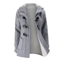 Winter Horn Button Jacket Coat New Long Parkas Female Womens Thick Cotton Warm Jacket Womens Outwear Parkas Plus Size Coat 2018