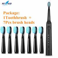 SEAGO SG-949 brosse à dents électrique sonique avec Smartimer 5 Modes de brossage 7 têtes de brosse USB charge étanche IPX7 soin des dents