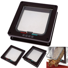 Hight Quality Coffee 4 Ways Lockable Dog Cat Kitty Door Security Flap Gate Pet Supplies  MTY3