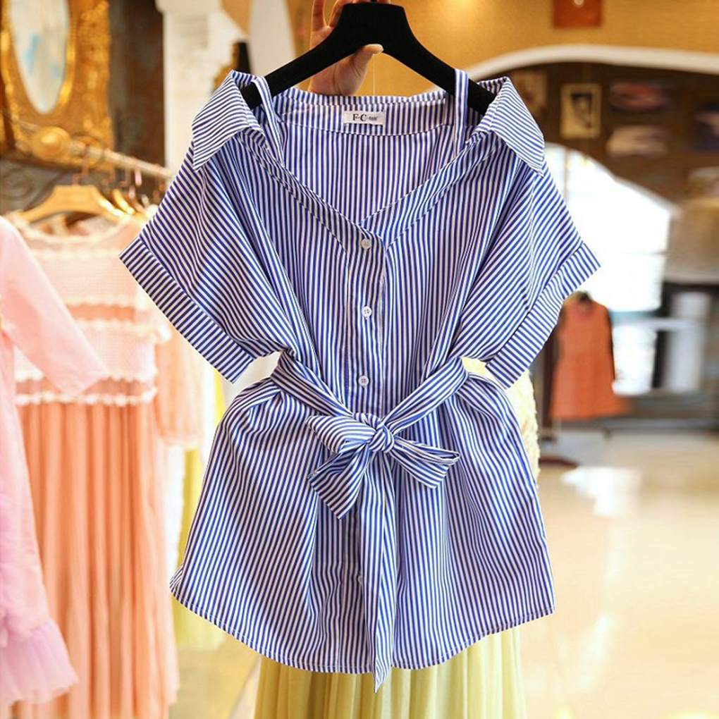 Women Off Shoulder Sling Striped Skirt Loose Short Sleeve Shirt blouses with Waistband