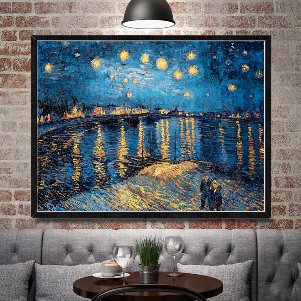 Vincent Van Gogh The Rhone River Starry Night Art Silk Poster Home