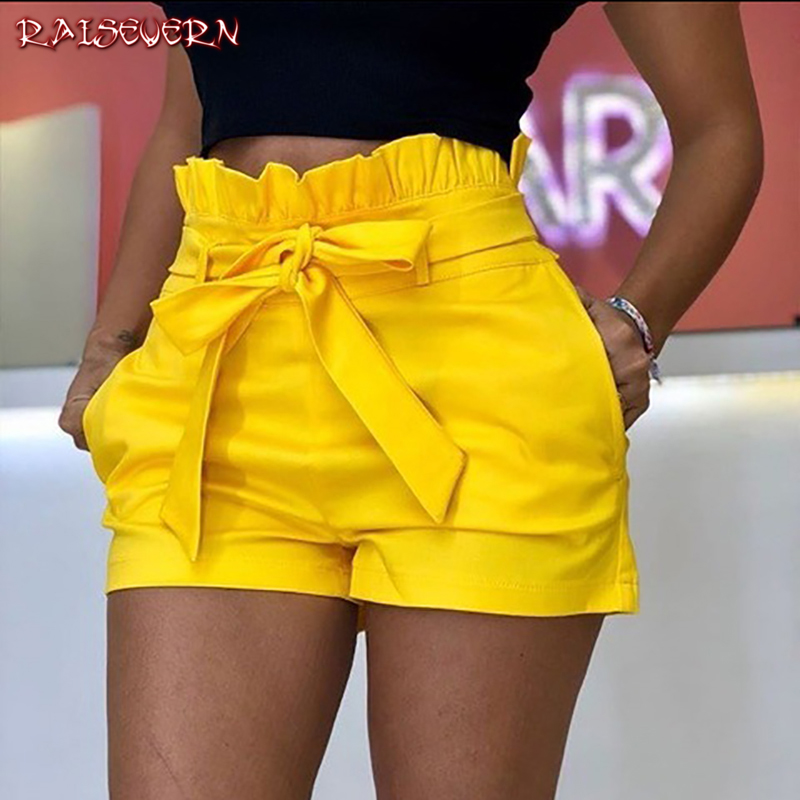 RAISEVERN 2019 Summer Women   Shorts   Sexy Ladies High Waist Casual Ruffle Bow Tie Bandage Beach Hot   Shorts   Womens Plus Size Pocket