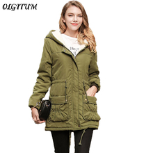 New 2017 Women's Winter Coats medium long hooded Jacket Waist pleated Big pocket Solid color warm female coat 5 colors