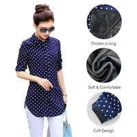 MJY New Casual White And Blue Women Blouse Ladies Dot Elegant Blouses Long Sleeve Thicken Lining