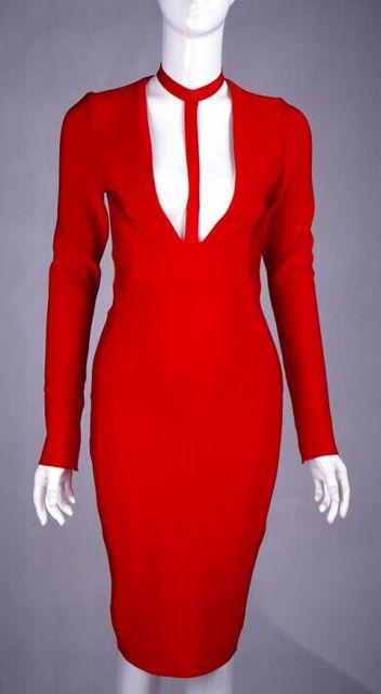 Rot langarm cut out schwarz nude weiße Berühmtheit Verbandkleid Prom ...