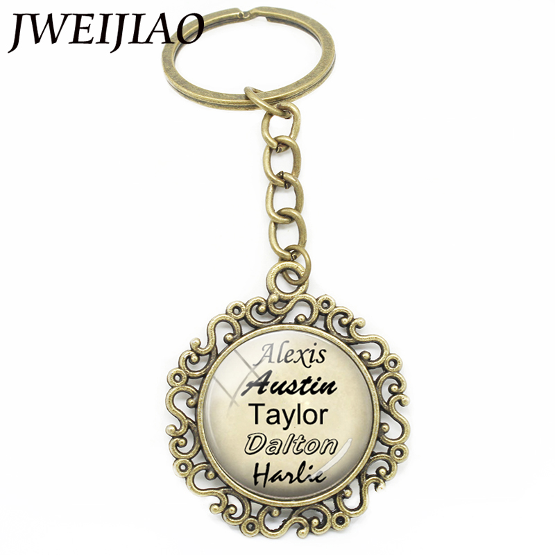 JWEIJIAO Personalized Keychain Vintage Hollow Flower Edge Key Chain Custom Your Family Names Glass Dome Photo Jewelry Gift NA01 allblue floating fishing lures shad minnow 60mm 7 3g artificial bait 2 5m plastic 3d eyes wobbler bass lure fishing tackle peche