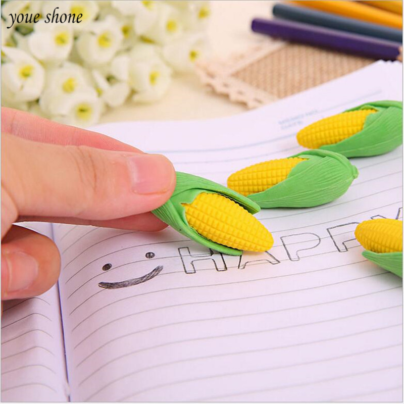 2Pcs New Corn Style Eraser Removable Leafs Rubbers Lovely Creative Stationery Erasers For Kids Office School Students Supplies