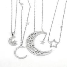 ZS Настоящее серебро 925 проба ожерелье Кристалл колье ожерелье для женщин кулон ожерелье полумесяц звезда мусульманские украшения Израиль