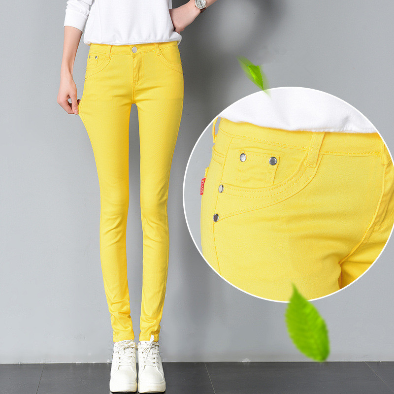 FSDKFAA Woman Jeans Solid Pencil Women Pants Girls Sweet Candy Color Slim Trousers Femme Pantalon Good Quality Women Leggings
