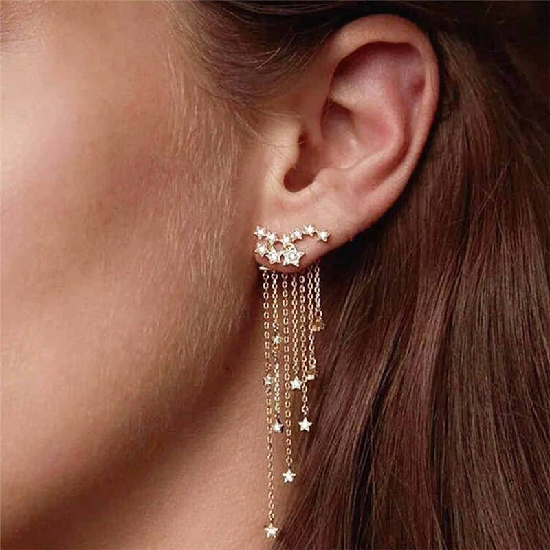 Fashion Women Gold / Silver Color Star Streamlined Tassel Long Crystal Earrings for Women Girl Jewelry Gift Pendante Femme b