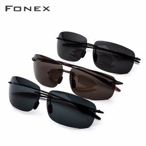 Image 5 - FONEX Ultem TR90 Rimless Sunglasses Men Ultralight High Quality Square Frameless Sun Glasses for Women Nylon Lens 1607